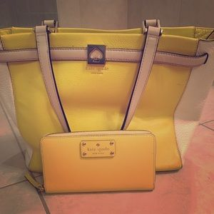 Katie Spade yellow handbag with matching wallet